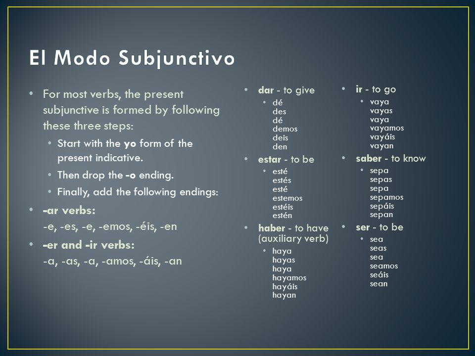El Modo Subjunctivo For most verbs, the present subjunctive is formed by following these three steps: