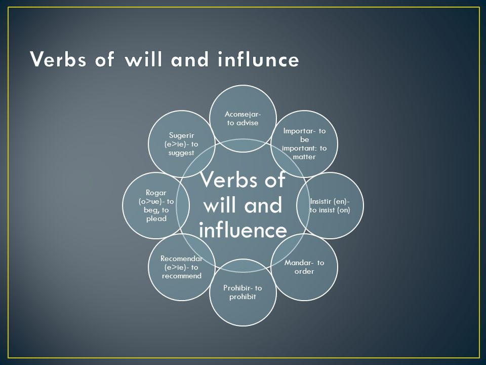 Verbs of will and influnce
