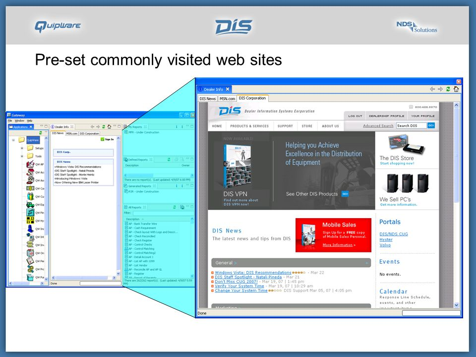 Pre-set commonly visited web sites