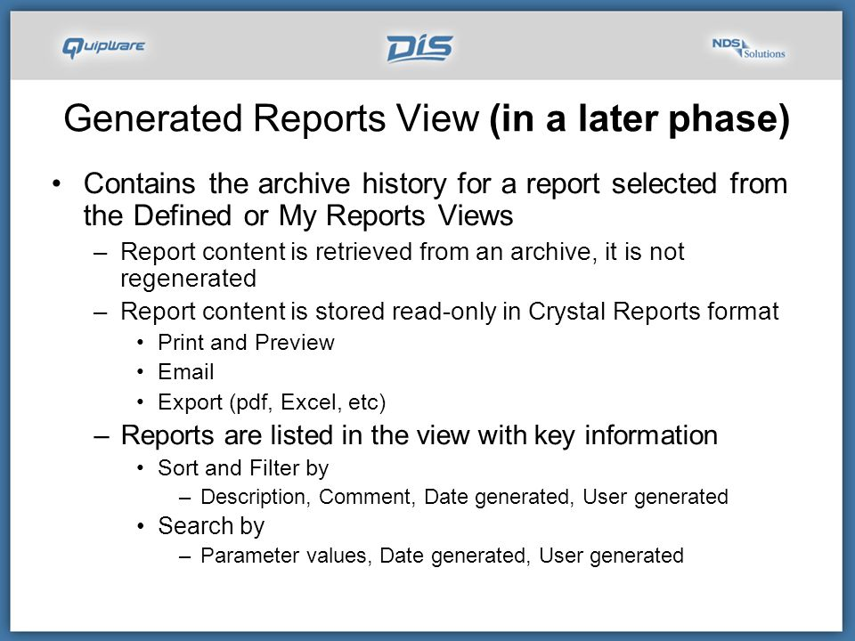 Generated Reports View (in a later phase)