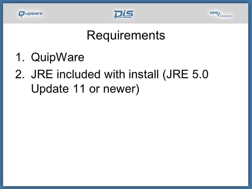 Requirements QuipWare