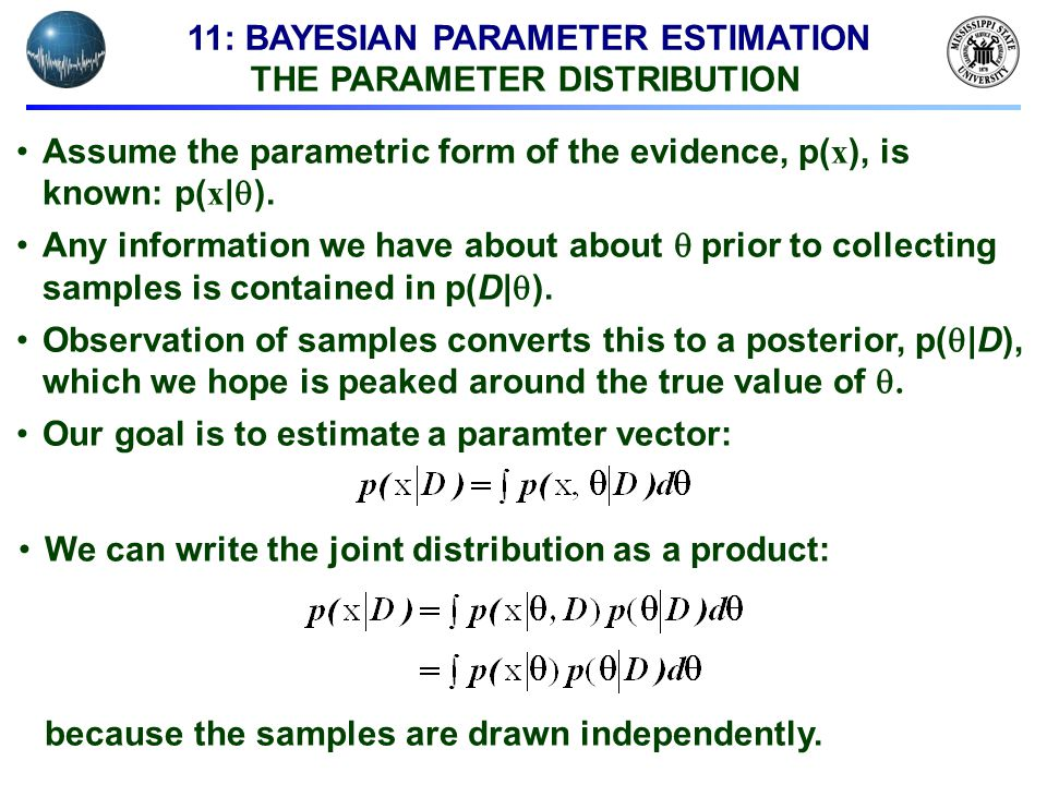 11: BAYESIAN PARAMETER ESTIMATION THE PARAMETER DISTRIBUTION