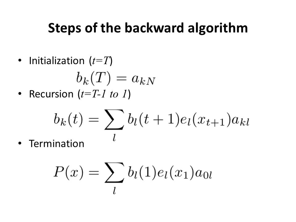 Steps of the backward algorithm