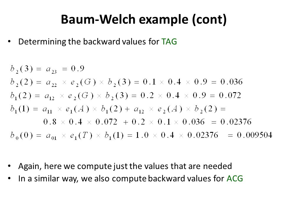 Baum-Welch example (cont)