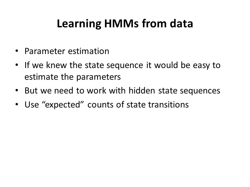 Learning HMMs from data