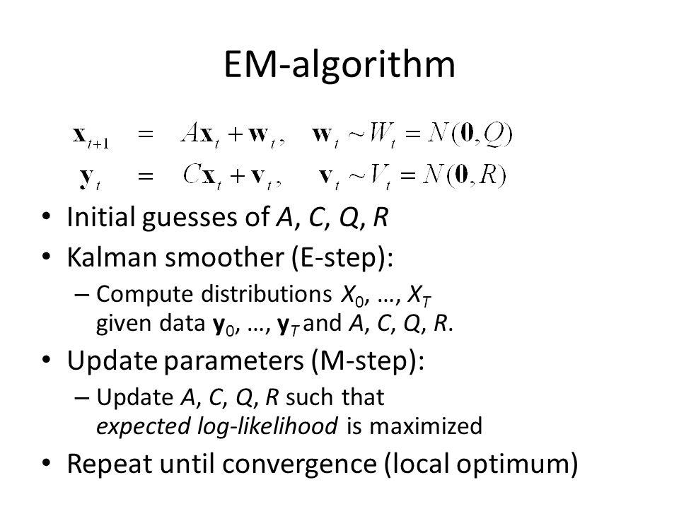 EM-algorithm Initial guesses of A, C, Q, R Kalman smoother (E-step):