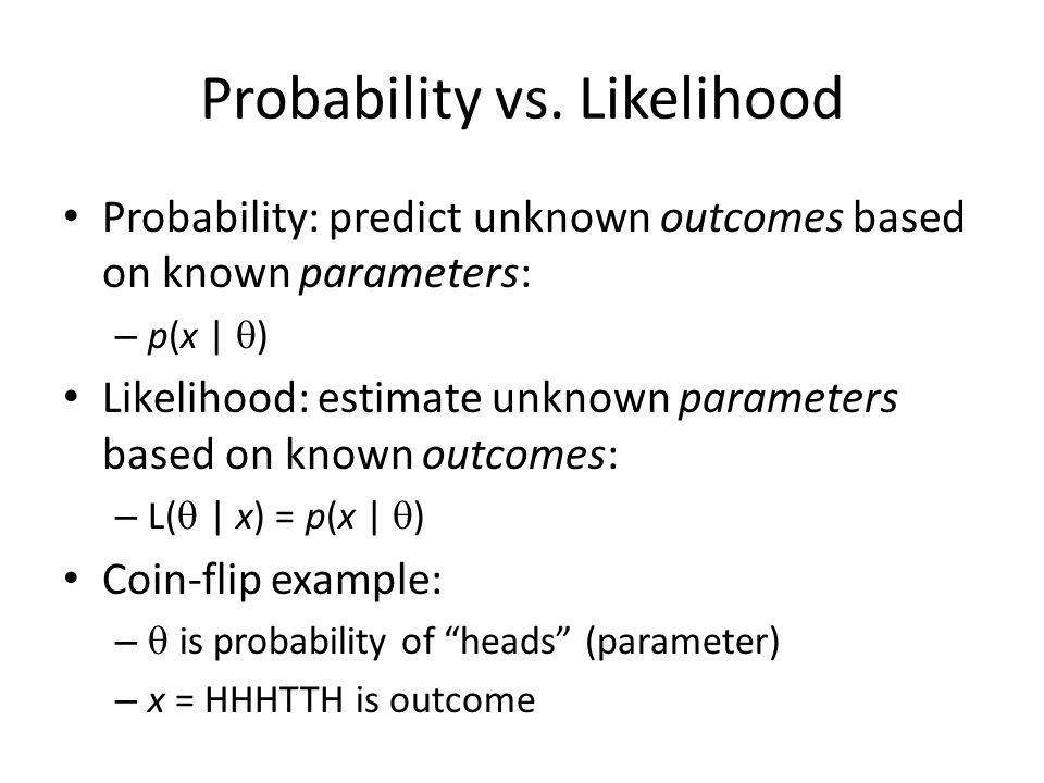 Probability vs. Likelihood