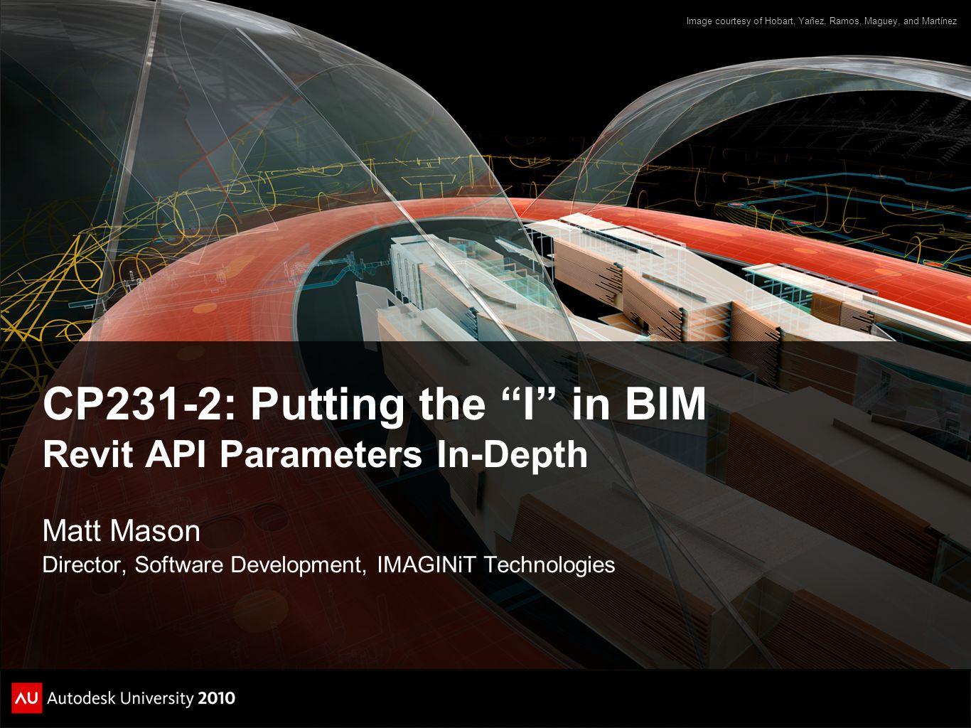 CP231-2: Putting the I in BIM Revit API Parameters In-Depth