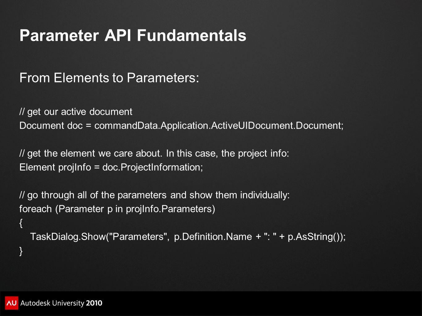Parameter API Fundamentals