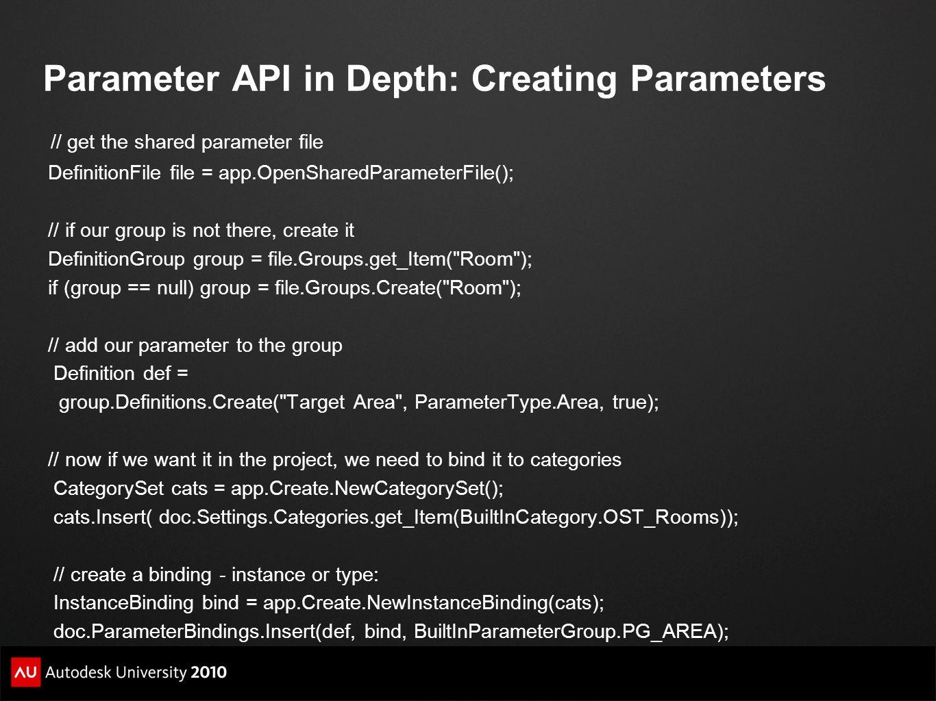 Parameter API in Depth: Creating Parameters