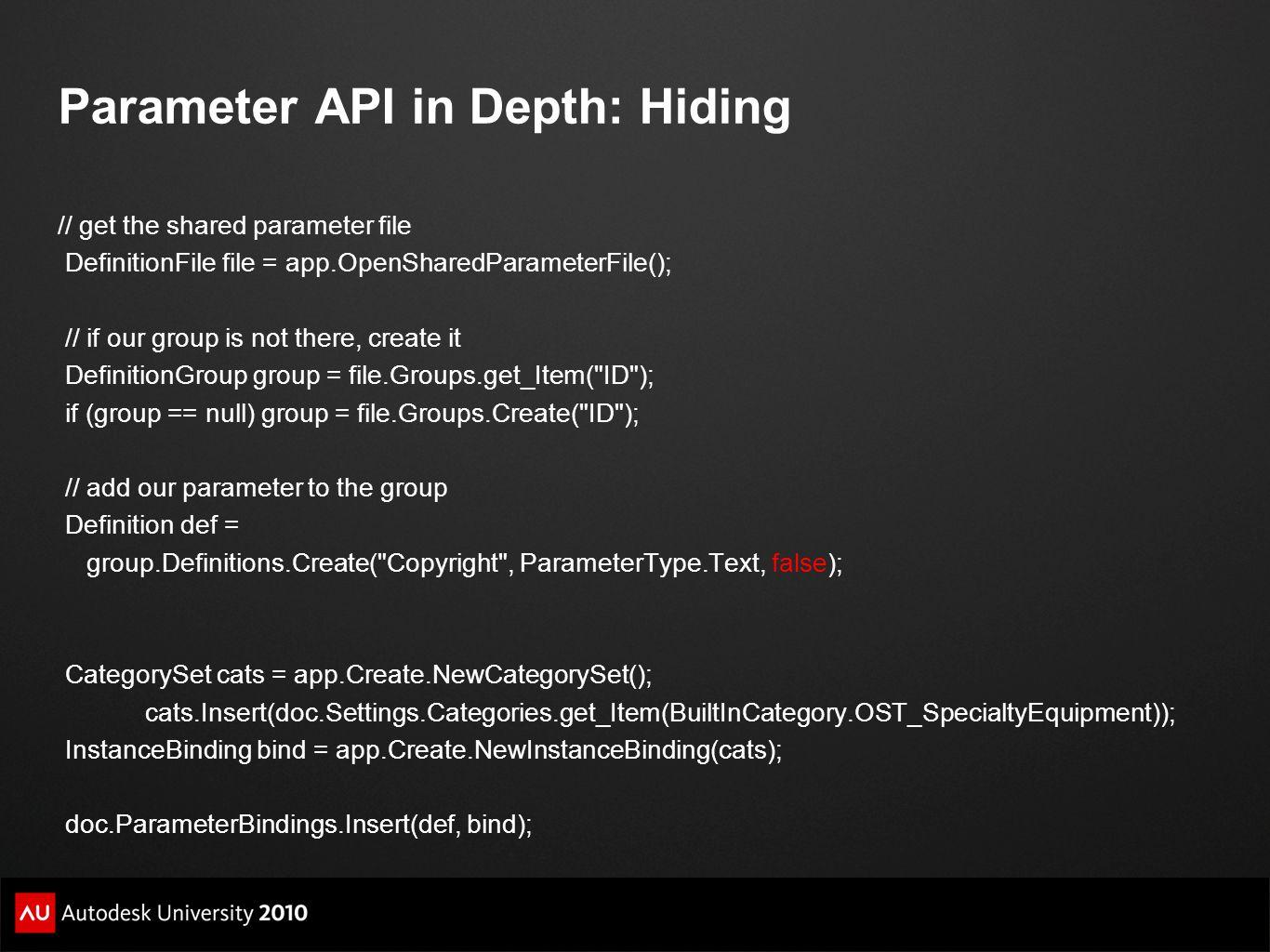 Parameter API in Depth: Hiding