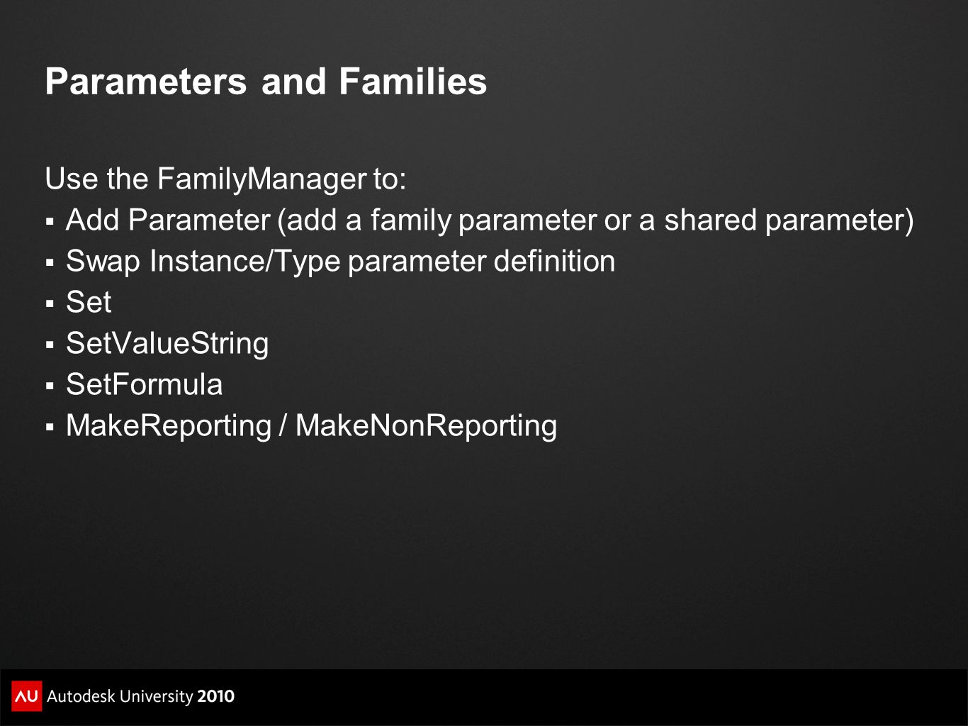 Parameters and Families