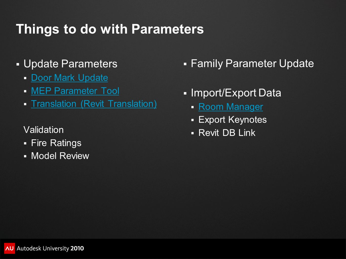 Things to do with Parameters