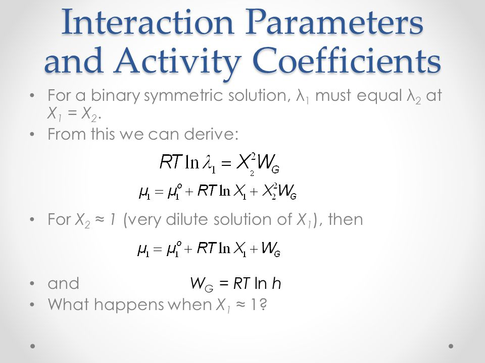 Interaction Parameters and Activity Coefficients