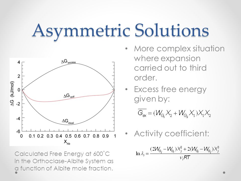 Asymmetric Solutions More complex situation where expansion carried out to third order. Excess free energy given by: