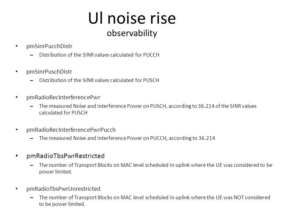 Ul noise rise observability