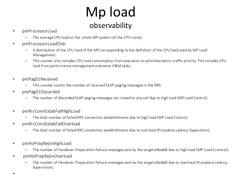 Mp load observability pmProcessorLoad pmProcessorLoadDistr
