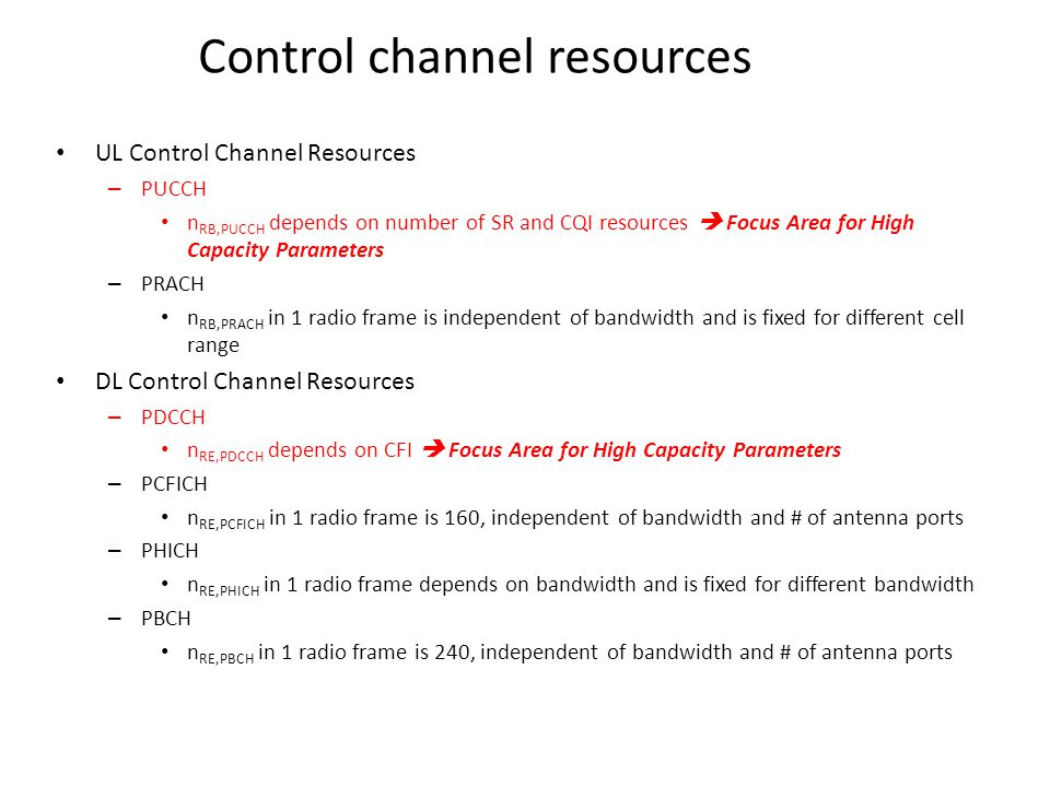 Control channel resources