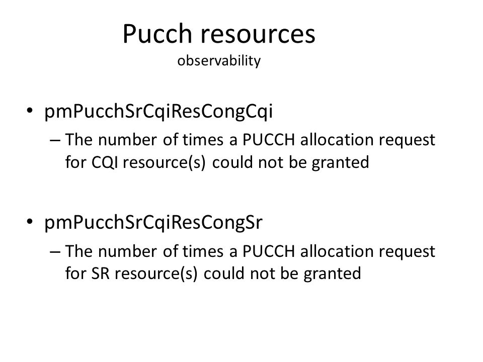 Pucch resources observability