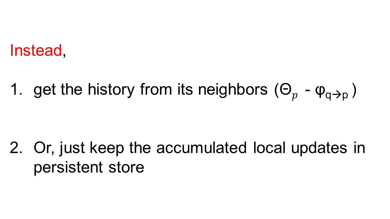 Instead, get the history from its neighbors (Θ𝑝 - φqp ) Or, just keep the accumulated local updates in persistent store.