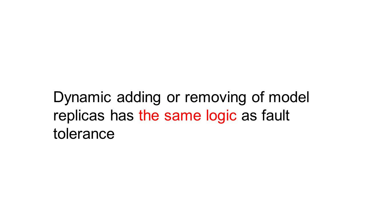 Dynamic adding or removing of model replicas has the same logic as fault tolerance