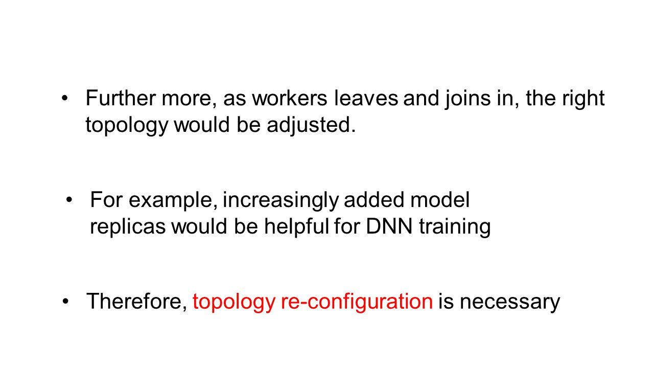 Further more, as workers leaves and joins in, the right topology would be adjusted.