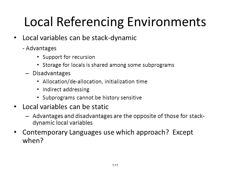 Local Referencing Environments