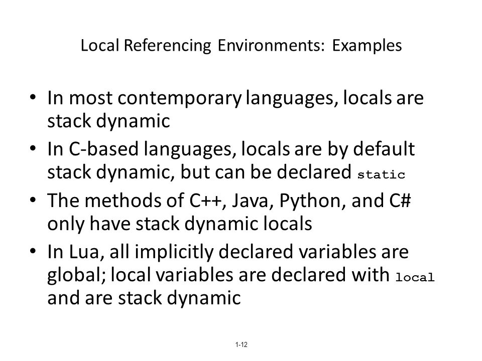 Local Referencing Environments: Examples