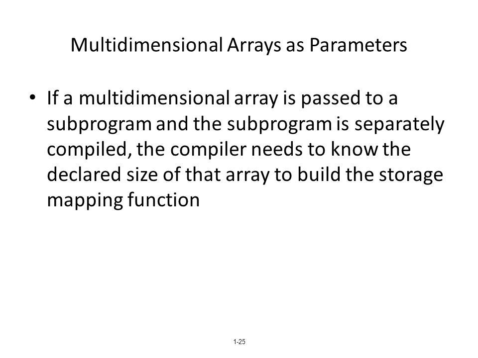 Multidimensional Arrays as Parameters