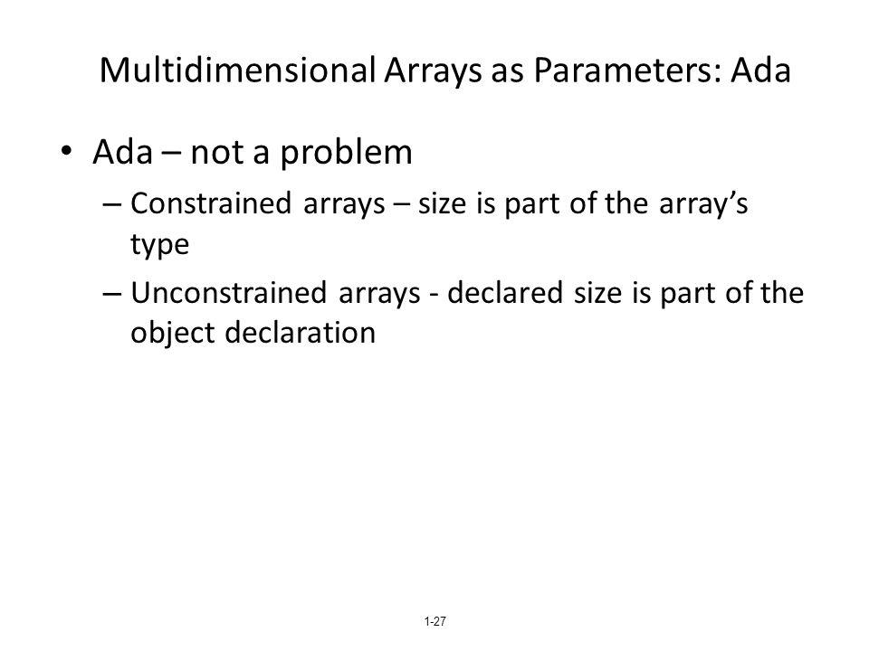 Multidimensional Arrays as Parameters: Ada