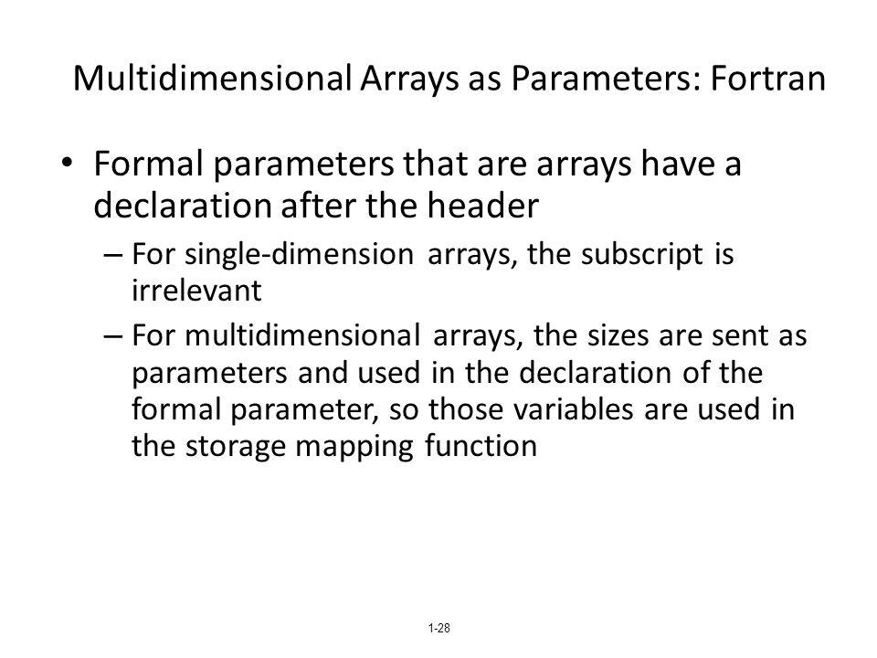Multidimensional Arrays as Parameters: Fortran