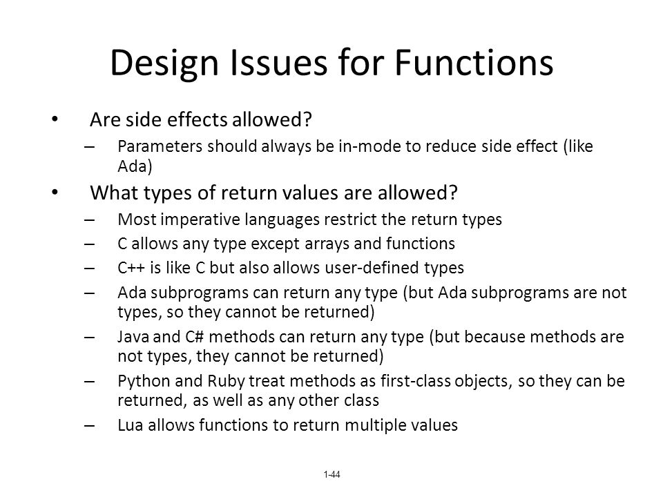 Design Issues for Functions