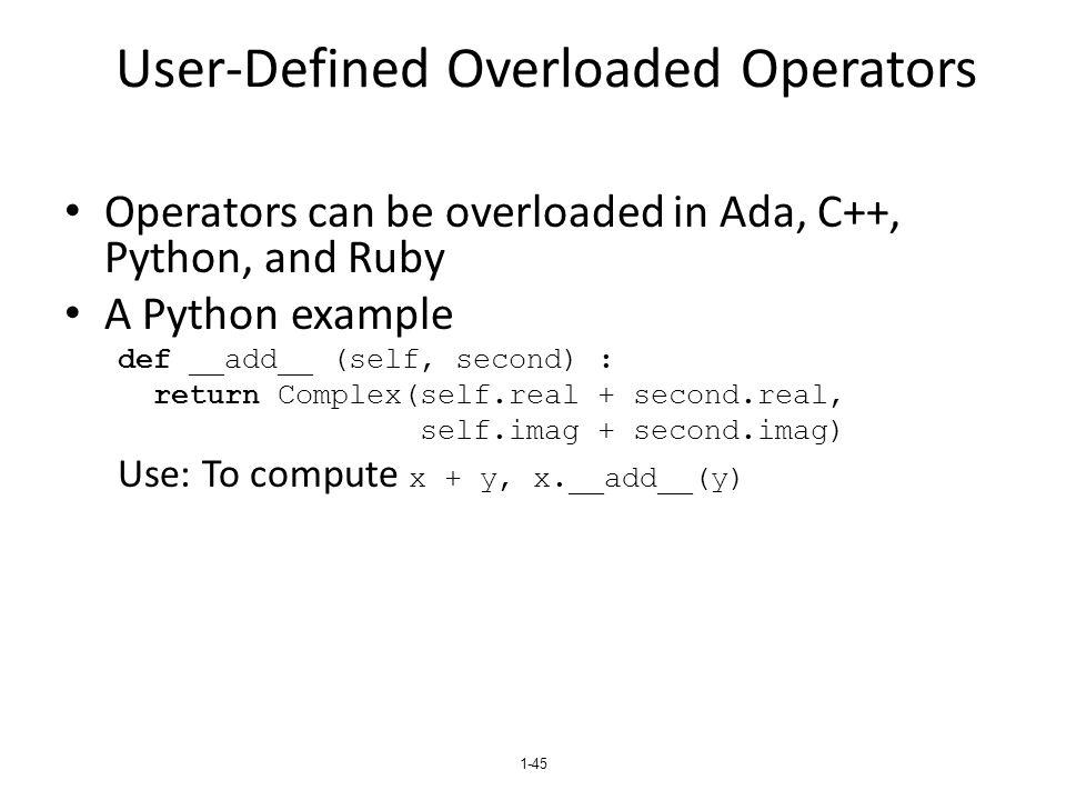 User-Defined Overloaded Operators