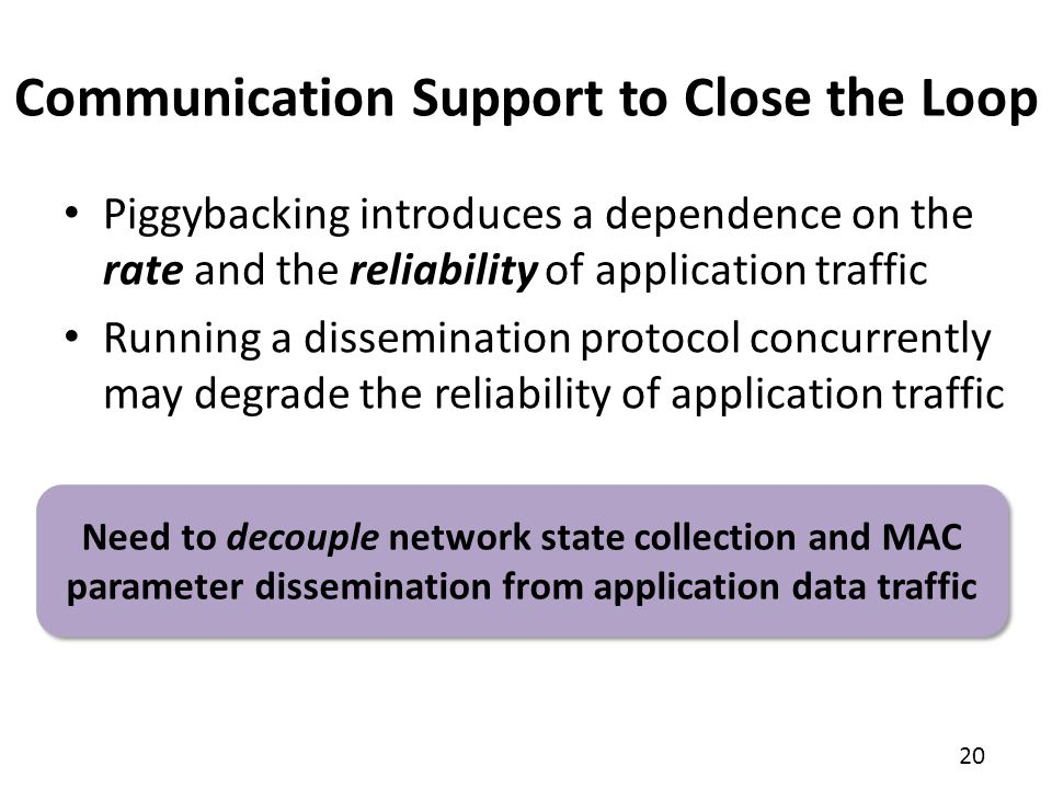 Communication Support to Close the Loop