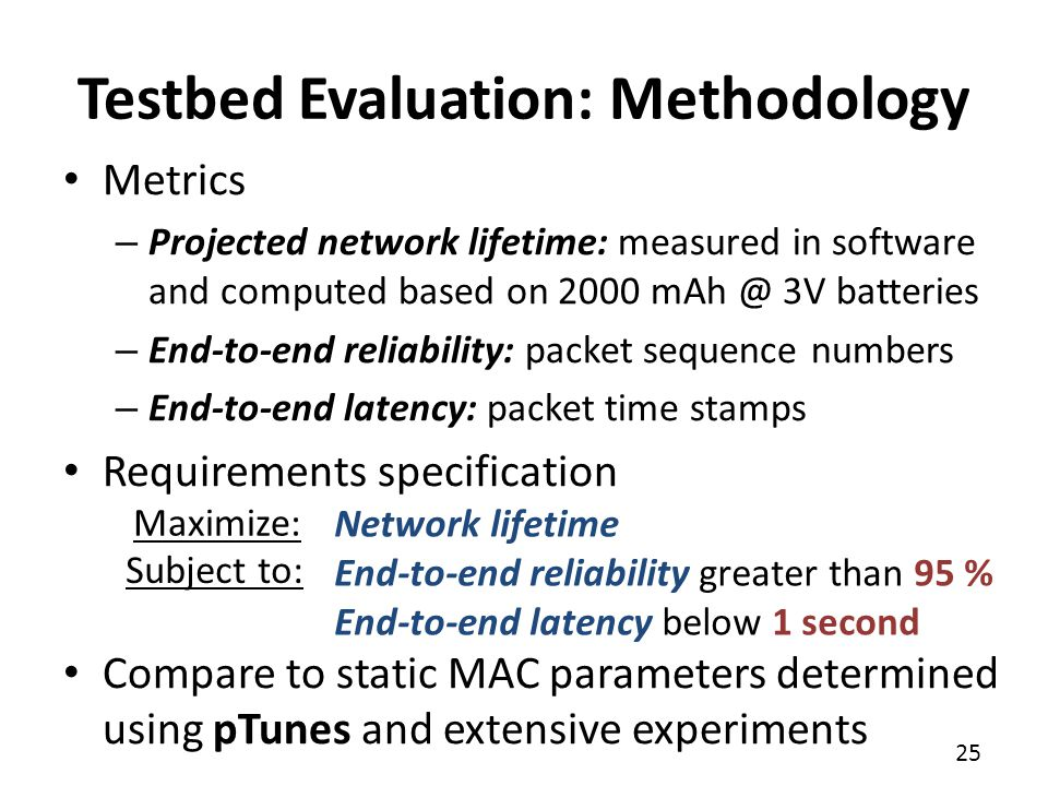 Testbed Evaluation: Methodology