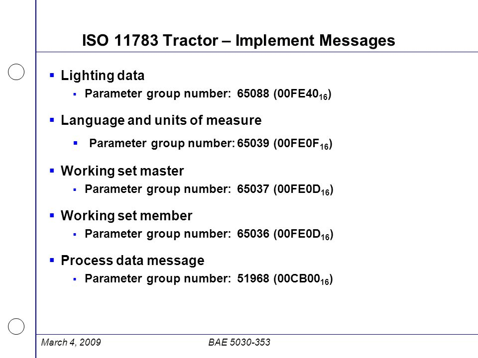 ISO 11783 Tractor – Implement Messages