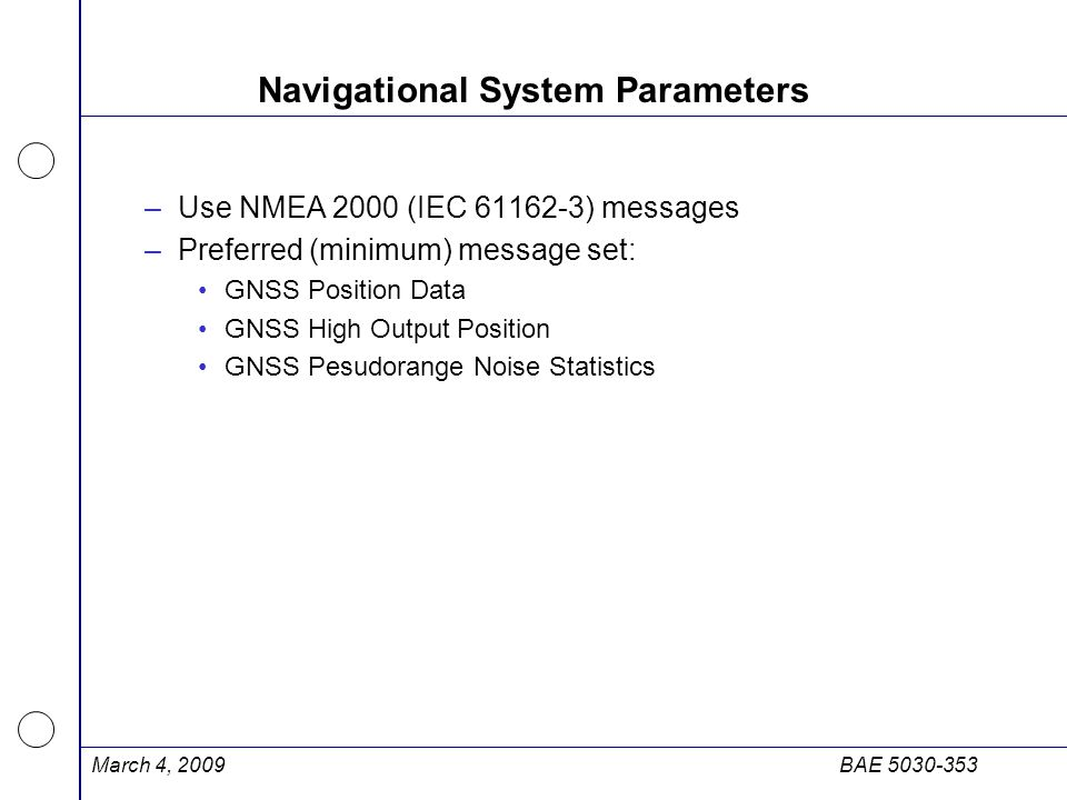 Navigational System Parameters