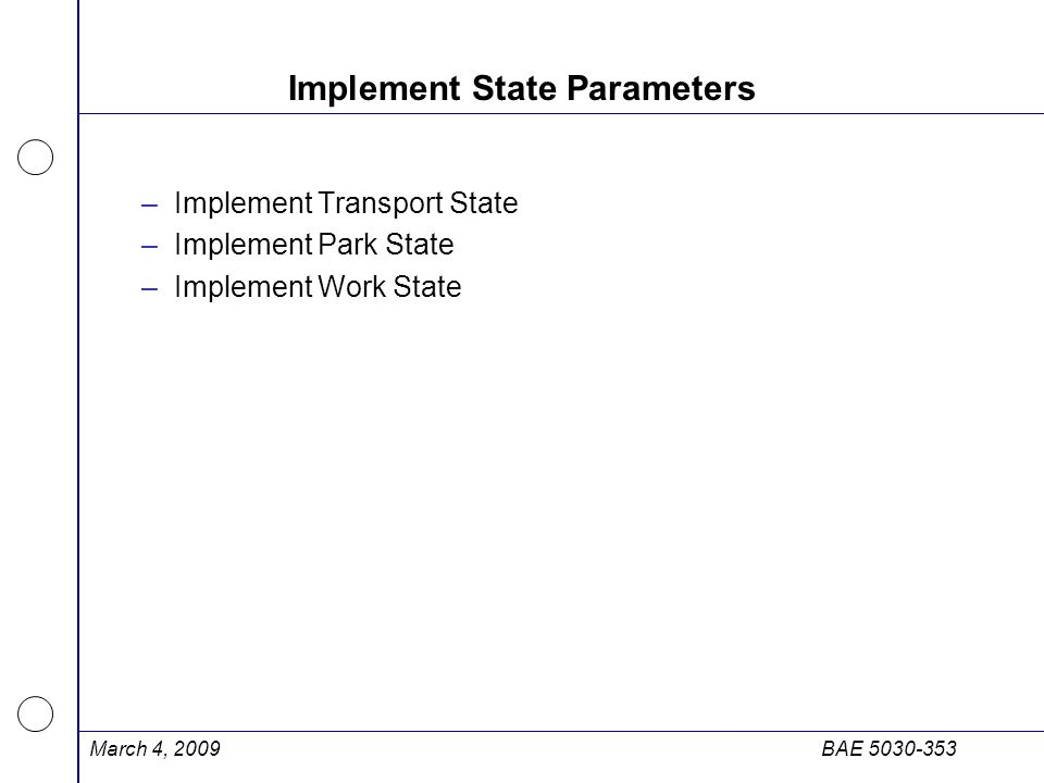 Implement State Parameters