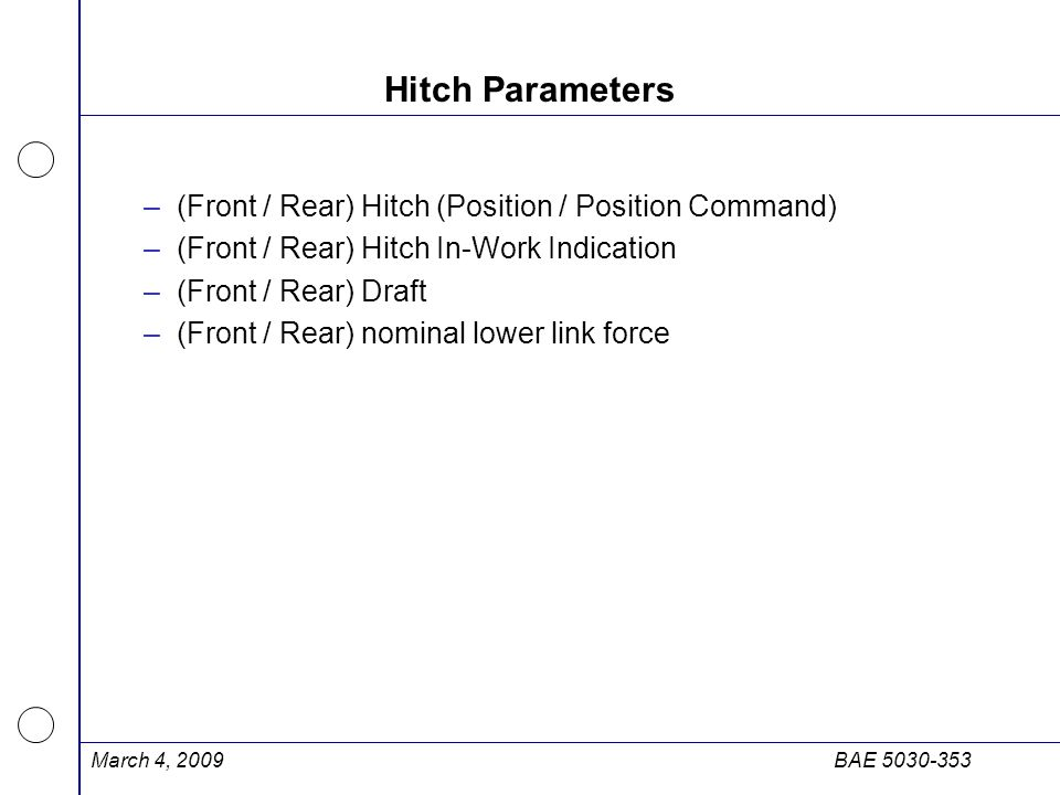 Hitch Parameters (Front / Rear) Hitch (Position / Position Command)