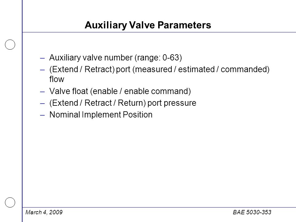 Auxiliary Valve Parameters