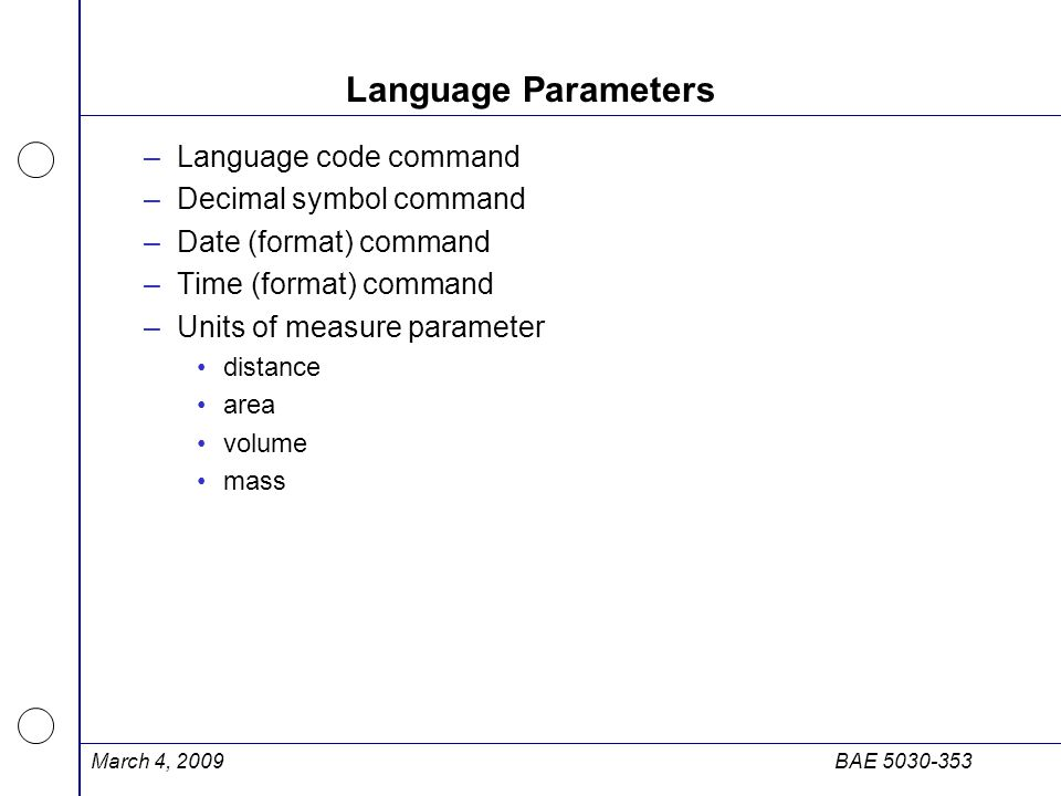 Language Parameters Language code command Decimal symbol command