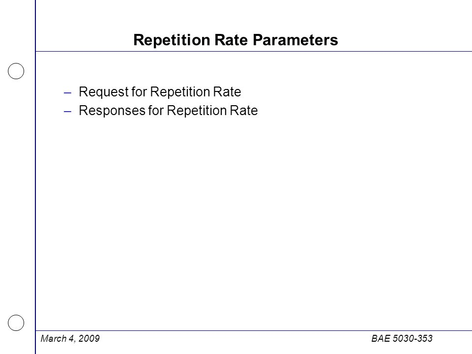 Repetition Rate Parameters