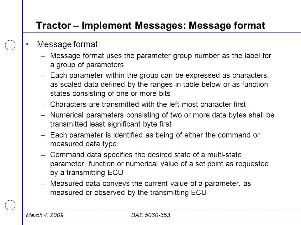 Tractor – Implement Messages: Message format
