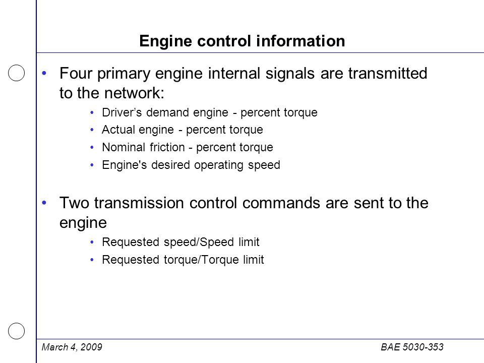 Engine control information