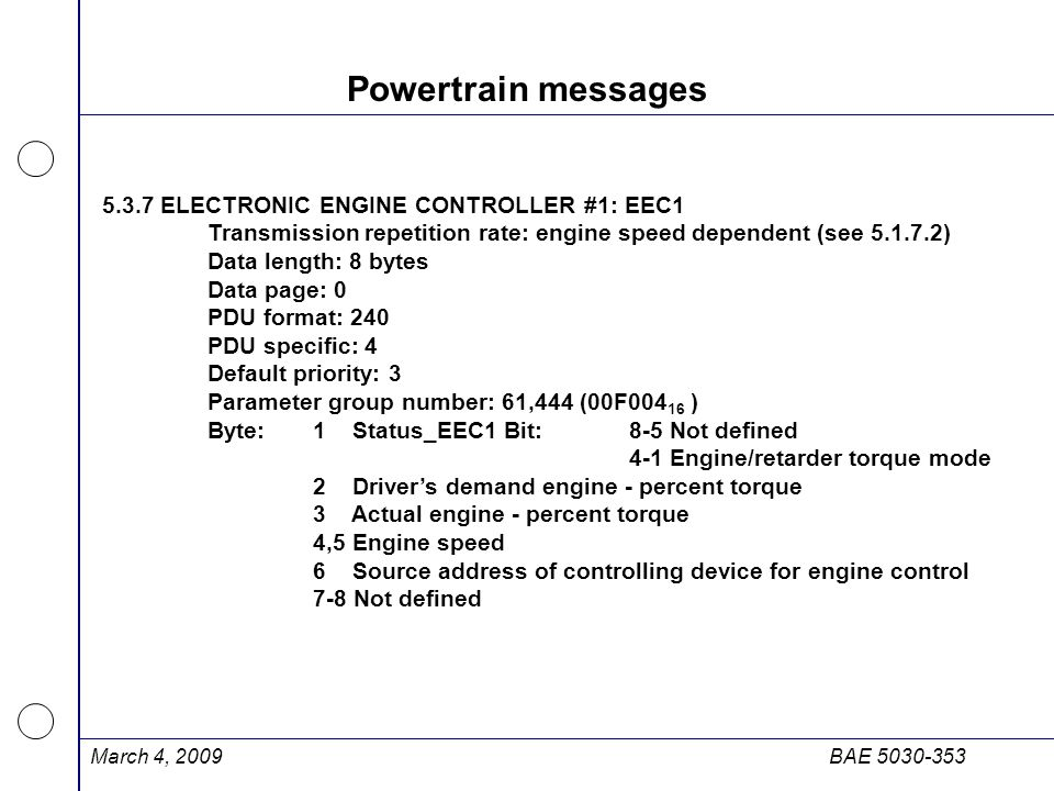 Powertrain messages 5.3.7 ELECTRONIC ENGINE CONTROLLER #1: EEC1