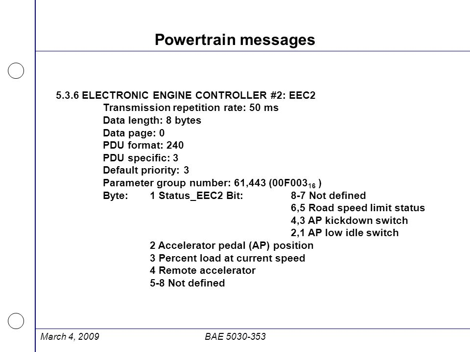 Powertrain messages 5.3.6 ELECTRONIC ENGINE CONTROLLER #2: EEC2