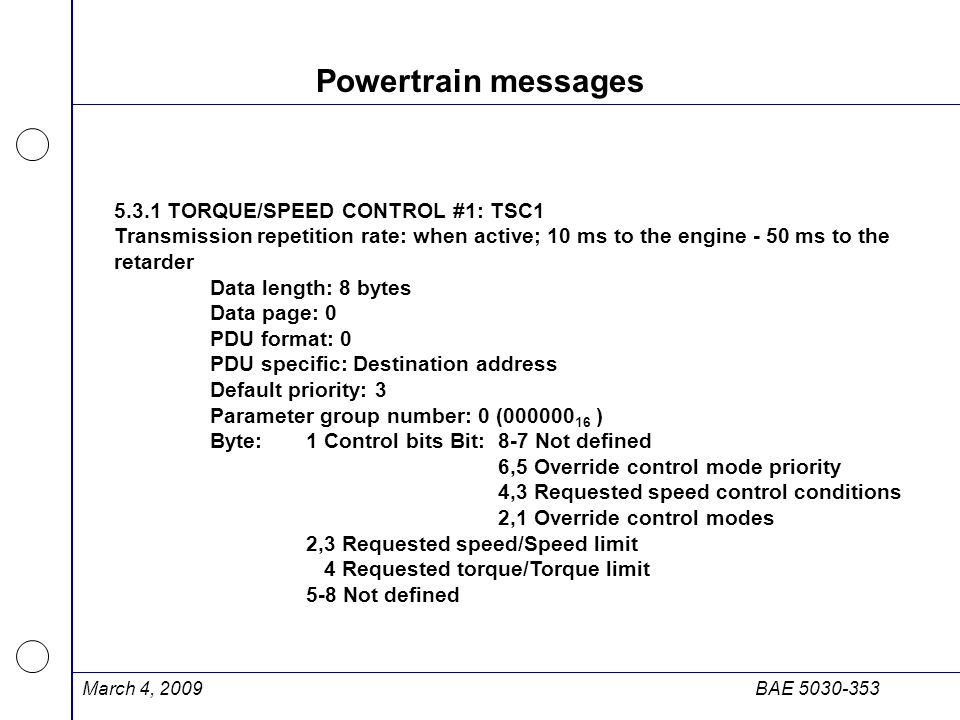 Powertrain messages 5.3.1 TORQUE/SPEED CONTROL #1: TSC1