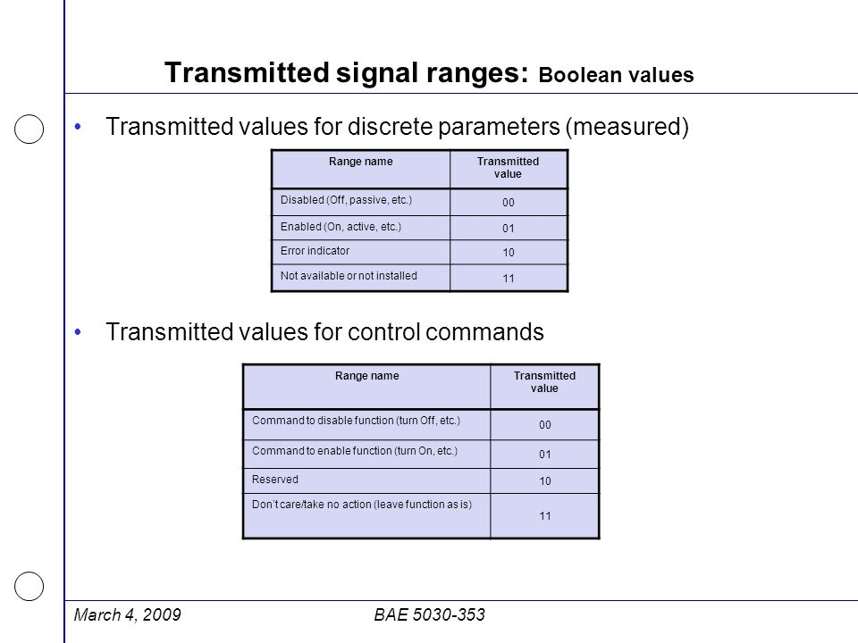 Transmitted signal ranges: Boolean values