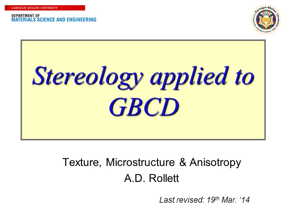 Stereology applied to GBCD