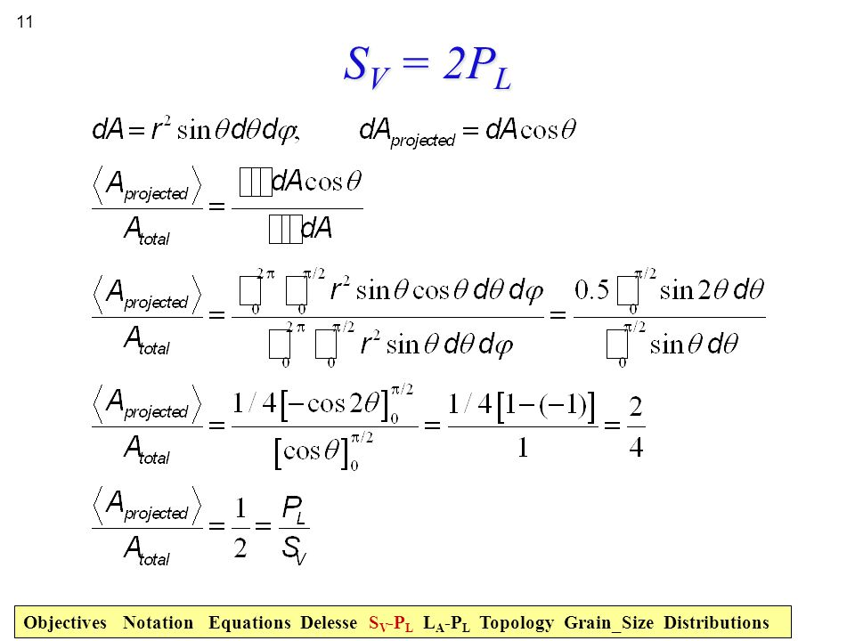 SV = 2PL Objectives Notation Equations Delesse SV-PL LA-PL Topology Grain_Size Distributions.